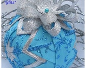 Blue Christmas Ornament Decoration Quilted silver ribbon