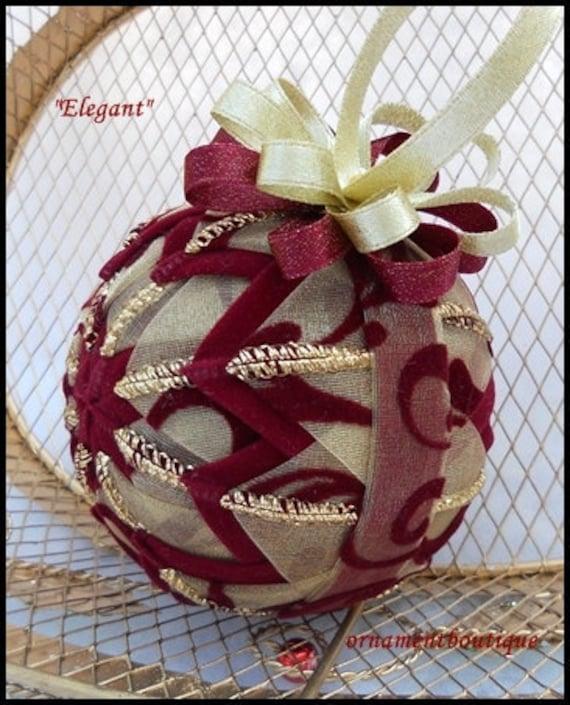 Easy Elegant Handmade Christmas Decorations: Christmas Ornament Quilted Elegant Burgundy Gold Handmade