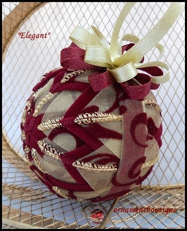 how to make handmade quilted ornaments ornament quilted burgundy gold handmade 2567