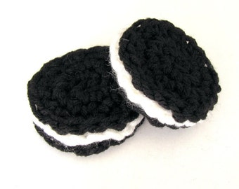 Oreo Style Crocheted Cookies Play food - Set of 2