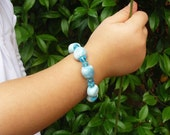 Blue porcelain and glass bracelet for girls.