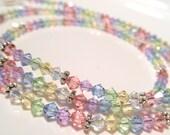 GLAMOROUS Pastel Rainbow Eyeglass Chain - Swarovski Crystal Eye Glasses Chain - Reading Glasses Chain - Pastel Crystal Eyeglass Lanyard