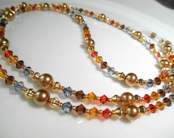 Warm Multicolor Eyeglass Chain Lanyard - Swarovski Crystal and Pearl Reading Eye Glasses Chain - Eyeglasses Jewelry - Autumn Glasses Holder