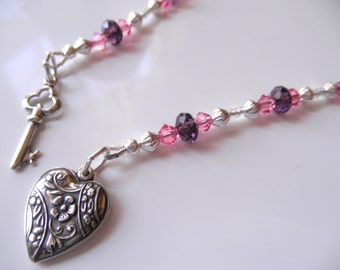 Heart and Key Beaded Bookmark - Key to my Heart - Heart and Key Book Thong - Sterling Silver Heart and Key, Pink and Purple Crystal Bookmark