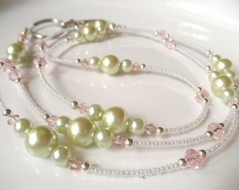 Pastel Badge Lanyard ID Holder - Pink and Green Lanyard - Pink Crystal - Green Pearl Lanyard - Spring Lanyard - Easter Lanyard