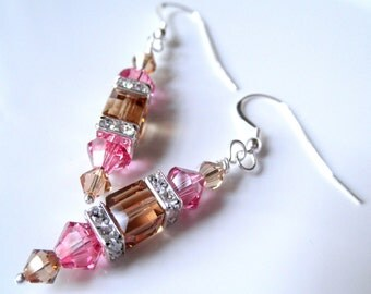 Swarovski Crystal Cube Earrings - Pink and Brown Jewelry - Sterling Silver Dangle Earrings - Rose and Topaz Cubes - Prom Wedding Earrings