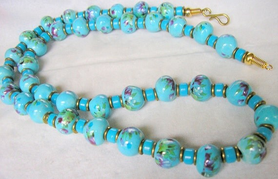 Vintage Sky Blue Necklace - Painted Porcelain Beads - Antique Jewelry - Handpainted Necklace