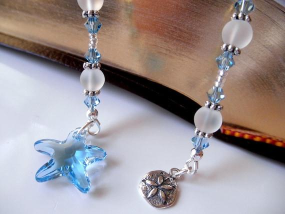 CLEARANCE Swarovski Crystal Beaded Book Thong - Aqua Blue Starfish - Sterling Silver Sand Dollar Charm - Beach Bookmark - Starfish Bookmark