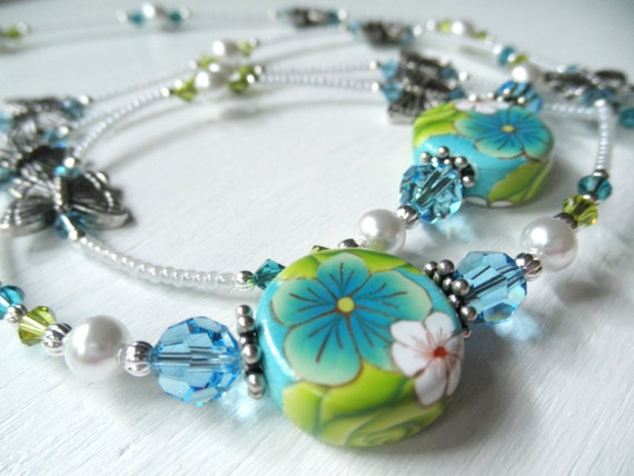 Floral and Butterfly Beaded Badge Lanyard ID Holder - Teal - Aqua - Lime - White - Polymer Clay - Swarovski Lanyard - Summer - OOAK