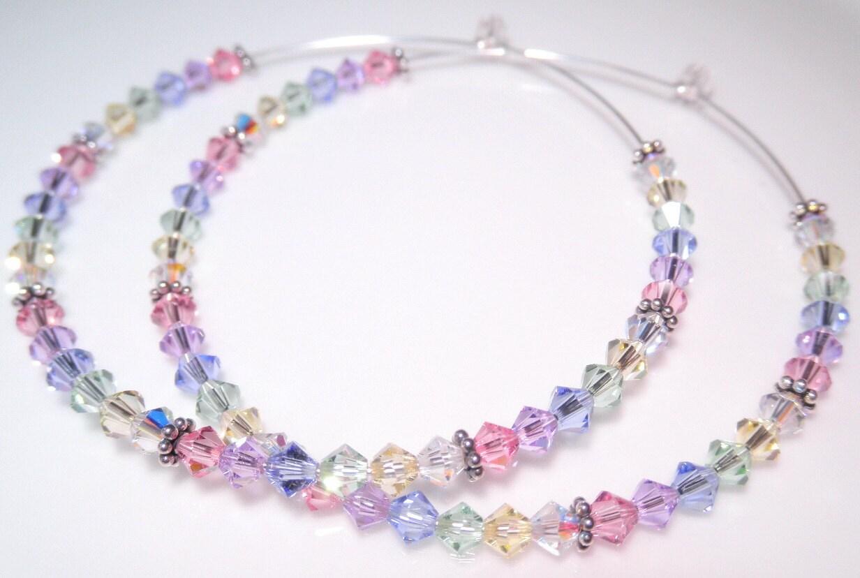 Swarovski Crystal Hoop Earrings Pastel Rainbow Hoops