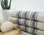 Turkish BATH Towel - Navy Blue Striped