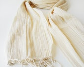 Hand-Woven COTTON Scarf - Cream