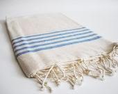 Turkish BATH Towel Peshtemal - Natural Cotton - Blue Striped