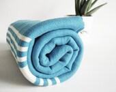 Turkish BATH Towel Handwoven Peshtemal - SOFT - Crystal Blue