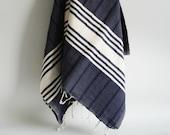 Shipping with FedEx - Bathstyle Turkish BATH Towel Handwoven Peshtemal - Soft  - Navy Blue