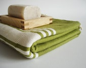 Turkish BATH Towel Handwoven Peshtemal - SOFT - Green