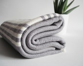 SALE 50 OFF/ Turkish Beach Bath Towel Peshtemal / Gray - White Striped / Bath, Beach, Spa, Swim, Pool Towels