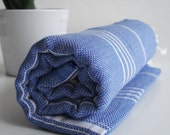 Shipping with FedEx - Turkish BATH Towel - Classic Peshtemal - Beach, Spa, Swim, Pool Towels and Pareo - Blue