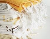 Shipping with FedEx - Turkish BATH Towel - Classic Peshtemal - Yellow (white striped) - Beach, Spa, Swim, Pool Towels and Pareo