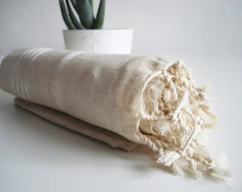 SALE 50 OFF/ Turkish Beach Bath Towel / Classic Peshtemal / Natural Color / Wedding Gift, Spa, Swim, Pool Towels and Pareo
