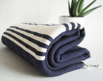 SALE 50 OFF/ Turkish Beach Bath Towel Peshtemal / Navy Blue - White Striped / Bath, Beach, Spa, Swim, Pool Towels