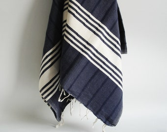 Shipping with FedEx - Bathstyle Turkish BATH Towel Handwoven Peshtemal - Soft  - Navy Blue
