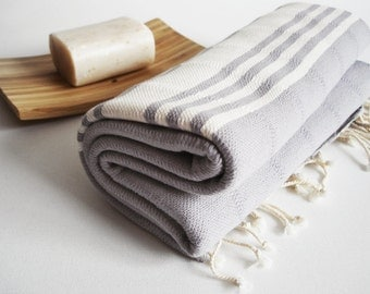 Shipping with FedEx - Bathstyle Turkish BATH Towel Handwoven Peshtemal - Soft - Gray (No1) Beach, Spa, Swim, Pool Towels and Pareo