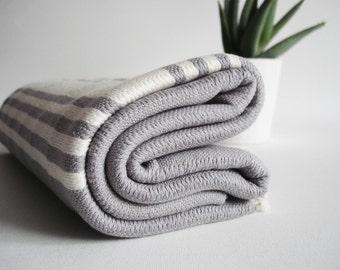 SALE 50 OFF/ Turkish Beach Bath Towel Peshtemal / Gray - White Striped / Bath, Beach, Spa, Swim, Pool Towels