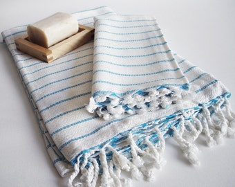 SET Turkish BATH Towel Peshtemal and Head-Hand Towel Peshkir - Very Soft Bamboo (Blue striped) Beach, Spa, Swim, Pool Towels and Pareo
