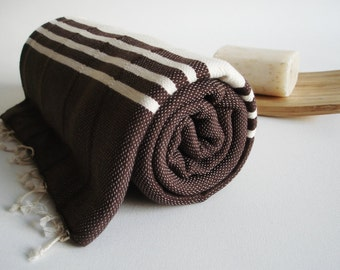 SALE 50 OFF/ Turkish Beach Bath Towel Peshtemal / No4 Brown / Wedding Gift, Spa, Swim, Pool Towels and Pareo