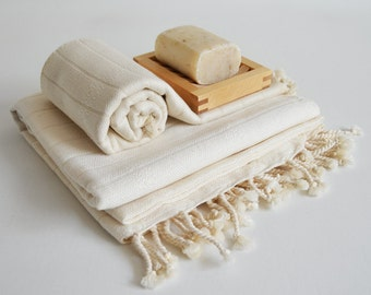 SALE 50 OFF / SET / Turkish Beach Bath Towel / Bamboo - Cotton / Natural Color