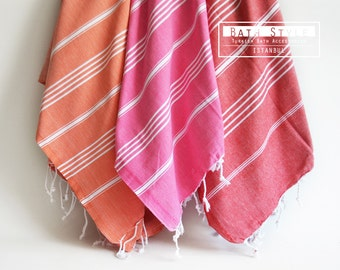 Shipping with FedEx - Turkish BATH Towel - Classic Peshtemal - Pink - Beach, Spa, Swim, Pool Towels and Pareo