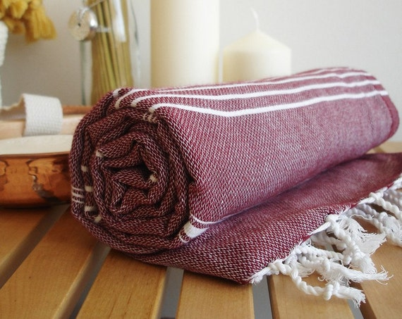 SALE  20% OFF // Turkish BATH Towel - Classic Peshtemal - Claret red