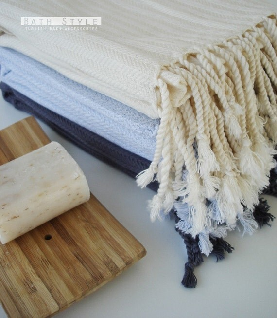 The BEST Quality Turkish BATH Towel Peshtemal - Very SOFT Bamboo - Ice Blue