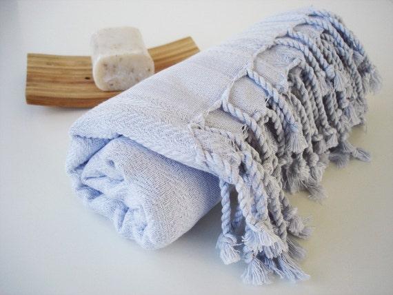 The BEST Quality Turkish BATH Towel Peshtemal - Very SOFT Bamboo - Ice Blue