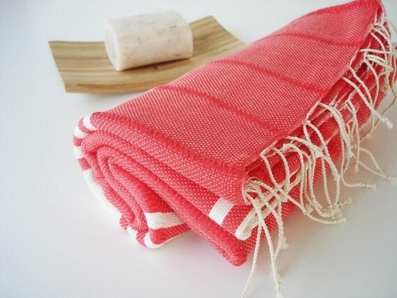 Turkish BATH Towel Handwoven Peshtemal - SOFT - Fluorescent Orange
