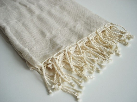 Bathstyle Premium Turkish BATH Towel Handwoven Peshtemal - LINEN - Natural Color