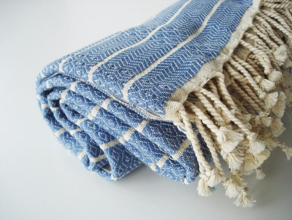 Turkish BATH Towel Peshtemal - Natural Cotton - Blue