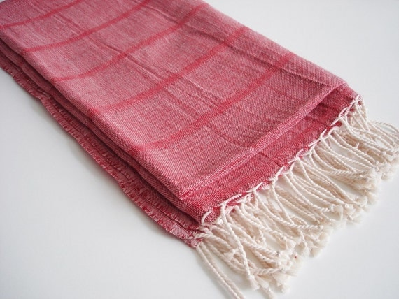 Premium Turkish BATH Towel Peshtemal - LINEN - Red