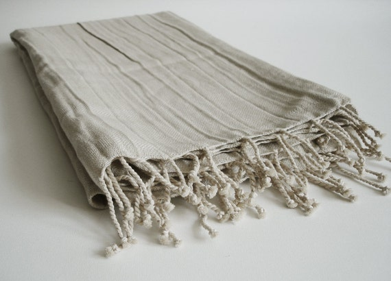 Turkish BATH Towel Peshtemal - LINEN - Natural Color