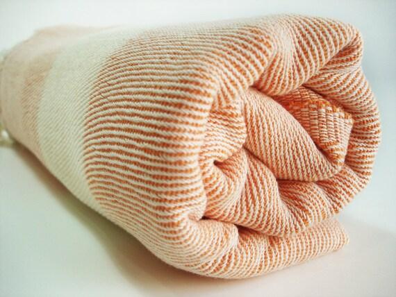 Bathstyle Turkish BATH Towel Peshtemal and Peshkir Set - Orange