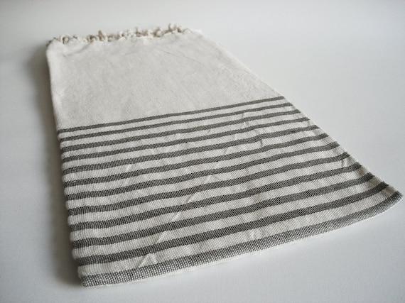 Turkish BATH Towel Peshtemal - Natural LINEN - Light Gray Striped