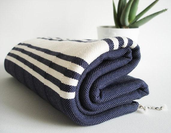 Turkish BATH Towel Handwoven Peshtemal - SOFT - Navy Blue