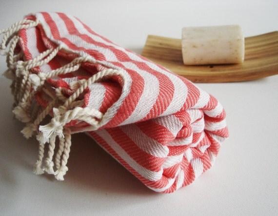 Turkish BATH Towel Peshtemal - RedPink