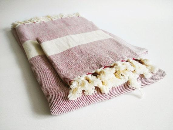 Bathstyle Turkish BATH Towel Peshtemal and Peshkir Set - SOFT - Claret Red