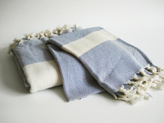 Bathstyle Turkish BATH Towel Peshtemal and Peshkir Set - SOFT - Navy Blue