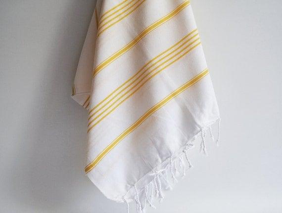 Turkish BATH Towel - Classic Peshtemal - White (yellow striped)