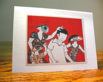 Tourists 5x7 A7 Blank Greeting Card, Weird, Thinking of You Card, Aliens, Family, Collage