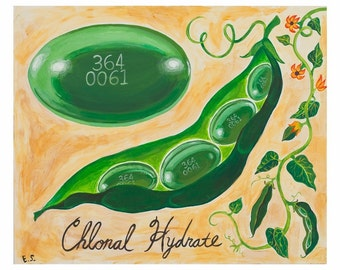 Green Chloral Hydrate Pill Blank 5x7 Card, A7, Surreal Botanical Art, Get Well Soon Greeting Card