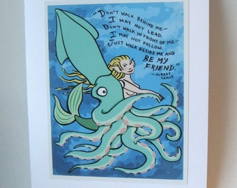Friendship Greeting Card, Giant Squid, Mermaid, Camus quote, 5x7, Blank Card, Valentine for Friend